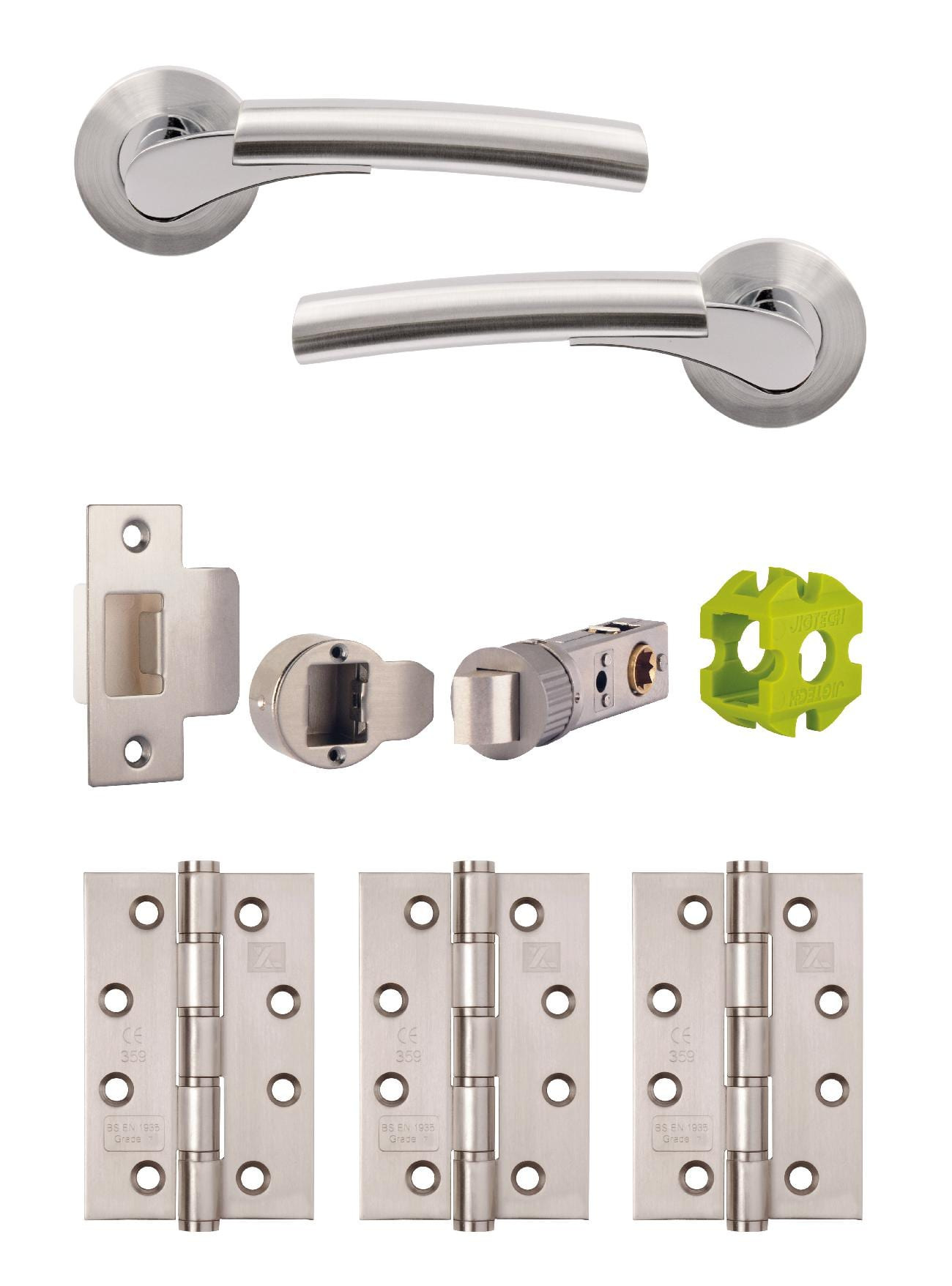 JIGTECH Quick Fit System ULTRO Lever on Rose Door Handles Chrome//Satin Dual Sets